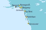 Visitando Seward (Alaska), Navegación por Glaciar Hubbard (Alaska), Juneau (Alaska), Skagway (Alaska), Icy Strait Point (Alaska), Ketchikan (Alaska), Vancouver (Canadá)