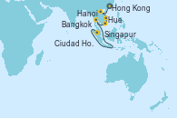 Visitando Hong Kong (China), Hong Kong (China), Hanoi (Vietnam), Hanoi (Vietnam), Hue (Vietnam), Ciudad Ho Chi Minh (Vietnam), Bangkok (Tailandia), Bangkok (Tailandia), Singapur, Singapur