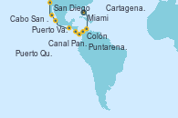 Visitando Miami (Florida/EEUU), Cartagena de Indias (Colombia), Colón (Panamá), Canal Panamá, Puntarenas (Costa Rica), Puerto Quetzal (Guatemala), Puerto Vallarta (México), Cabo San Lucas (México), San Diego (California/EEUU)
