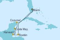Visitando Miami (Florida/EEUU), Roatán (Honduras), Harvest Caye (Belize), Costa Maya (México), Cozumel (México), Miami (Florida/EEUU)