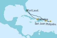Visitando Fort Lauderdale (Florida/EEUU), Philipsburg (St. Maarten), San Juan (Puerto Rico), Labadee (Haiti), Fort Lauderdale (Florida/EEUU)
