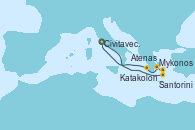 Visitando Civitavecchia (Roma), Santorini (Grecia), Mykonos (Grecia), Atenas (Grecia), Katakolon (Olimpia/Grecia), Civitavecchia (Roma)