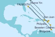 Visitando Nueva York (Estados Unidos), San Juan (Puerto Rico), Philipsburg (St. Maarten), St. John's (Antigua), Castries (Santa Lucía/Caribe), Bridgetown (Barbados), Basseterre (Antillas), Nueva York (Estados Unidos)