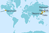 Visitando Tokio (Japón), Tokio (Japón), Hakodate (Japón), Sapporo (Japón), Petropavlosk (Rusia), Vancouver (Canadá)