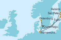 Visitando Copenhague (Dinamarca), Warnemunde (Alemania), Tallin (Estonia), San Petersburgo (Rusia), San Petersburgo (Rusia), Helsinki (Finlandia), Gotemburgo (Suecia), Copenhague (Dinamarca)