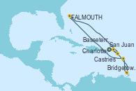 Visitando San Juan (Puerto Rico), Bridgetown (Barbados), Castries (Santa Lucía/Caribe), St. John's (Antigua), Basseterre (Antillas), Charlotte Amalie (St. Thomas), San Juan (Puerto Rico)