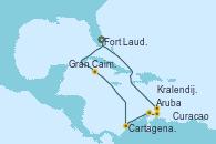 Visitando Fort Lauderdale (Florida/EEUU), Gran Caimán (Islas Caimán), Cartagena de Indias (Colombia), Oranjestad (Aruba), Oranjestad (Aruba), Curacao (Antillas), Kralendijk (Antillas), Fort Lauderdale (Florida/EEUU)