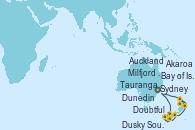 Visitando Sydney (Australia), Milfjord Sound (Nueva Zelanda), Doubtful Sound (Nueva Zelanda), Dusky Sound (Nueva Zelanda), Dunedin (Nueva Zelanda), Akaroa (Nueva Zelanda), Auckland (Nueva Zelanda), Tauranga (Nueva Zelanda), Bay of Islands (Nueva Zelanda), Sydney (Australia)
