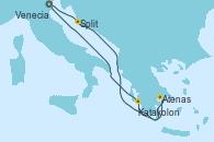 Visitando Venecia (Italia), Split (Croacia), Atenas (Grecia), Katakolon (Olimpia/Grecia), Venecia (Italia)