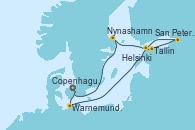 Visitando Copenhague (Dinamarca), Warnemunde (Alemania), Tallin (Estonia), San Petersburgo (Rusia), San Petersburgo (Rusia), Helsinki (Finlandia), Nynashamn (Suecia), Copenhague (Dinamarca)