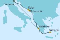 Visitando Venecia (Italia), Dubrovnik (Croacia), Kotor (Montenegro), Santorini (Grecia), Katakolon (Olimpia/Grecia), Venecia (Italia)