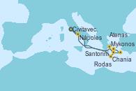 Visitando Civitavecchia (Roma), Chania (Creta/Grecia), Mykonos (Grecia), Rodas (Grecia), Santorini (Grecia), Atenas (Grecia), Nápoles (Italia), Civitavecchia (Roma)