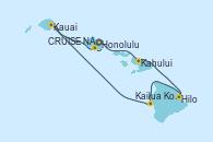 Visitando Honolulu (Hawai), Kahului (Hawai/EEUU), Kahului (Hawai/EEUU), Hilo (Hawai), Kailua Kona (Hawai/EEUU), Kauai (Hawai), Kauai (Hawai), CRUISE NAPALI COAST, AT SEA, Honolulu (Hawai)