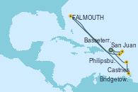 Visitando San Juan (Puerto Rico), Philipsburg (St. Maarten), Basseterre (Antillas), St. John's (Antigua), Castries (Santa Lucía/Caribe), Bridgetown (Barbados), San Juan (Puerto Rico)