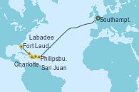 Visitando Southampton (Inglaterra), Philipsburg (St. Maarten), Charlotte Amalie (St. Thomas), San Juan (Puerto Rico), Labadee (Haiti), Fort Lauderdale (Florida/EEUU)