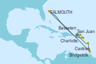Visitando San Juan (Puerto Rico), Charlotte Amalie (St. Thomas), Basseterre (Antillas), St. John's (Antigua), Castries (Santa Lucía/Caribe), Bridgetown (Barbados), San Juan (Puerto Rico)