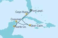Visitando Fort Lauderdale (Florida/EEUU), Cayo Hueso (Key West/Florida), Puerto Costa Maya (México), Cozumel (México), Gran Caimán (Islas Caimán), Fort Lauderdale (Florida/EEUU)