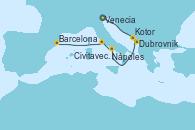 Visitando Venecia (Italia), Dubrovnik (Croacia), Kotor (Montenegro), Nápoles (Italia), Civitavecchia (Roma), Barcelona