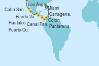 Visitando Miami (Florida/EEUU), Cartagena de Indias (Colombia), Colón (Panamá), Canal Panamá, Puntarenas (Costa Rica), Puerto Quetzal (Guatemala), Huatulco (México), Puerto Vallarta (México), Cabo San Lucas (México), Los Ángeles (California)