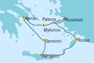 Visitando Kusadasi (Efeso/Turquía)Patmos (Grecia), Rodas (Grecia), Heraklion (Creta), Santorini (Grecia), Atenas (Grecia), Mykonos (Grecia), Kusadasi (Efeso/Turquía)