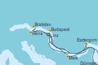 Visitando Linz (Austria), Linz (Austria), Melk (Austria), Dürnstein (Austria), Viena (Austria), Viena (Austria), Viena (Austria), Bratislava (Eslovaquia), Esztergom (Hungría), Budapest (Hungría), Budapest (Hungría), Budapest (Hungría)