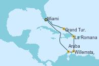 Visitando Miami (Florida/EEUU), Grand Turks(Turks & Caicos), La Romana (República Dominicana), Willemstad (Antillas), Aruba (Antillas), Miami (Florida/EEUU)