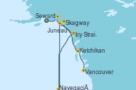 Visitando Seward (Alaska), Navegación por Glaciar Hubbard (Alaska), Icy Strait Point (Alaska), Navegación por  Glaciar Sawyer (Alaska), Juneau (Alaska), Skagway (Alaska), Ketchikan (Alaska), Vancouver (Canadá)
