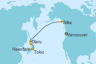 Visitando Vancouver (Canadá), Sitka (Alaska), Otaru (Japón), Hakodate (Japón), Tokio (Japón), Tokio (Japón)