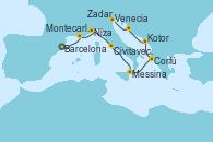 Visitando Barcelona, Montecarlo (Mónaco), Niza (Francia), Civitavecchia (Roma), Messina (Sicilia), Corfú (Grecia), Kotor (Montenegro), Zadar (Croacia), Venecia (Italia)