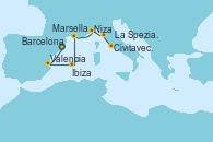 Visitando Barcelona, Valencia, Ibiza (España), Marsella (Francia), Niza (Francia), La Spezia, Florencia y Pisa (Italia), Civitavecchia (Roma)
