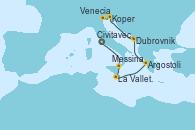 Visitando Civitavecchia (Roma), Messina (Sicilia), La Valletta (Malta), Argostoli (Grecia), Dubrovnik (Croacia), Koper (Eslovenia), Venecia (Italia)