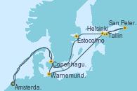 Visitando Ámsterdam (Holanda), Warnemunde (Alemania), Helsinki (Finlandia), San Petersburgo (Rusia), San Petersburgo (Rusia), Tallin (Estonia), Estocolmo (Suecia), Copenhague (Dinamarca), Ámsterdam (Holanda)