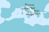 Visitando Venecia (Italia), Venecia (Italia), Split (Croacia), Kotor (Montenegro), Corfú (Grecia), Nápoles (Italia), Civitavecchia (Roma)