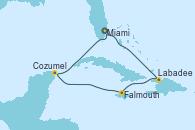 Visitando Miami (Florida/EEUU), Labadee (Haiti), Falmouth (Jamaica), Cozumel (México), Miami (Florida/EEUU)