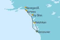 Visitando Vancouver (Canadá), Icy Strait Point (Alaska), Navegación por Glaciar Hubbard (Alaska), Juneau (Alaska), Ketchikan (Alaska), Vancouver (Canadá)