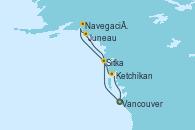 Visitando Vancouver (Canadá), Sitka (Alaska), Navegación por Glaciar Hubbard (Alaska), Juneau (Alaska), Ketchikan (Alaska), Vancouver (Canadá)