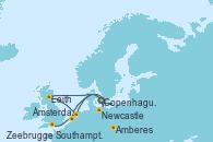 Visitando Copenhague (Dinamarca), Newcastle (Reino Unido), Leith (Edinburgo/Escocia), Leith (Edinburgo/Escocia), Leith (Edinburgo/Escocia), Ámsterdam (Holanda), Ámsterdam (Holanda), Amberes (Bélgica), Zeebrugge (Bruselas), Southampton (Inglaterra)