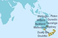 Visitando Sydney (Australia), Melbourne (Australia), Milfjord Sound (Nueva Zelanda), Doubtful Sound (Nueva Zelanda), Dusky Sound (Nueva Zelanda), Dunedin (Nueva Zelanda), Wellington (Nueva Zelanda), Picton (Australia), Tauranga (Nueva Zelanda), Tauranga (Nueva Zelanda), Auckland (Nueva Zelanda)
