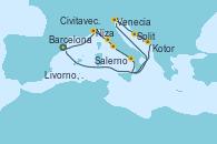 Visitando Barcelona, Niza (Francia), Livorno, Pisa y Florencia (Italia), Civitavecchia (Roma), Salerno (Italia), Venecia (Italia), Venecia (Italia), Split (Croacia), Kotor (Montenegro), Barcelona