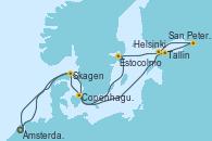 Visitando Ámsterdam (Holanda), Copenhague (Dinamarca), Tallin (Estonia), San Petersburgo (Rusia), San Petersburgo (Rusia), Helsinki (Finlandia), Estocolmo (Suecia), Skagen (Dinamarca), Ámsterdam (Holanda)