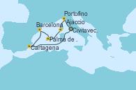 Visitando Civitavecchia (Roma), Cartagena (Murcia), Barcelona, Palma de Mallorca (España), Ajaccio (Córcega), Portofino (Italia), Civitavecchia (Roma)