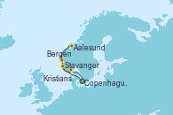 Visitando Copenhague (Dinamarca), Stavanger (Noruega), Bergen (Noruega), Aalesund (Noruega), Kristiansand (Noruega), Copenhague (Dinamarca)