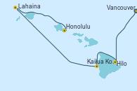 Visitando Vancouver (Canadá), Hilo (Hawai), Hilo (Hawai), Kailua Kona (Hawai/EEUU), Lahaina  (Hawai), Lahaina  (Hawai), Honolulu (Hawai)
