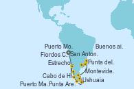 Visitando San Antonio (Chile), Puerto Montt (Chile), Fiordos Chilenos, Estrecho de Magallanes, Punta Arenas (Chile), Ushuaia (Argentina), Cabo de Hornos (Chile), Puerto Madryn (Argentina), Punta del Este (Uruguay), Montevideo (Uruguay), Buenos aires, Buenos aires