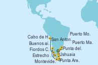 Visitando Buenos aires, Buenos aires, Montevideo (Uruguay), Punta del Este (Uruguay), Puerto Madryn (Argentina), Cabo de Hornos (Chile), Ushuaia (Argentina), Punta Arenas (Chile), Estrecho de Magallanes, Fiordos Chilenos, Puerto Montt (Chile), San Antonio (Chile)