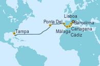Visitando Barcelona, Cartagena (Murcia), Málaga, Cádiz (España), Lisboa (Portugal), Lisboa (Portugal), Ponta Delgada (Azores), Tampa (Florida)