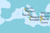 Visitando Civitavecchia (Roma), Santorini (Grecia), Atenas (Grecia), Mykonos (Grecia), Chania (Creta/Grecia), La Valletta (Malta), Messina (Sicilia), Nápoles (Italia), Livorno, Pisa y Florencia (Italia), Civitavecchia (Roma)