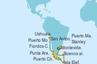 Visitando Buenos aires, Montevideo (Uruguay), Puerto Madryn (Argentina), Stanley (Malvinas), Isla Elefante (Antártida), Ushuaia (Argentina), Punta Arenas (Chile), Fiordos Chilenos, Puerto Chacabuco (Chile), Puerto Montt (Chile), San Antonio (Chile)