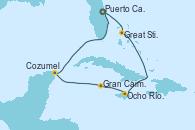 Visitando Puerto Cañaveral (Florida), Great Stirrup Cay (Bahamas), Ocho Ríos (Jamaica), Gran Caimán (Islas Caimán), Cozumel (México), Puerto Cañaveral (Florida)