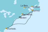 Visitando Boston (Massachusetts), Bar Harbor (Maine), Sydney (Nueva Escocia/Canadá), Charleston (Carolina del Sur), La Baie (Canada), Quebec (Canadá)